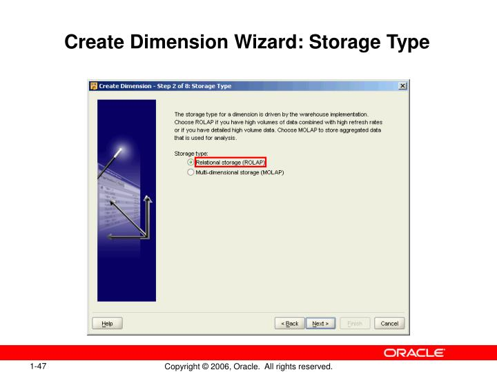 Create Dimension Wizard: Storage Type