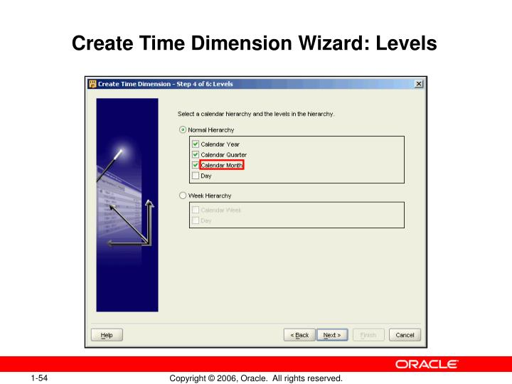 Create Time Dimension Wizard: Levels