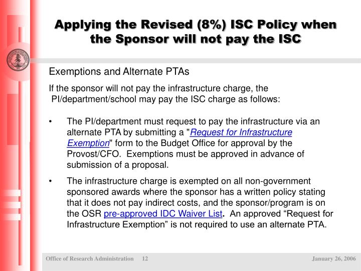 Applying the Revised (8%) ISC Policy