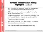 revised infrastructure policy highlights continued