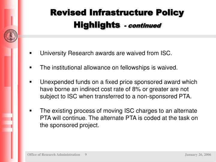 Revised Infrastructure Policy Highlights