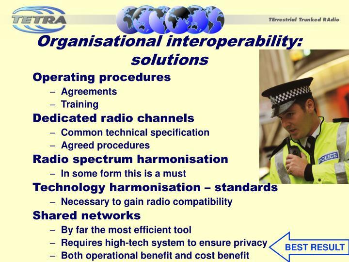 Organisational interoperability: solutions