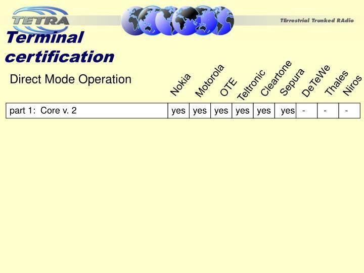 Terminal certification