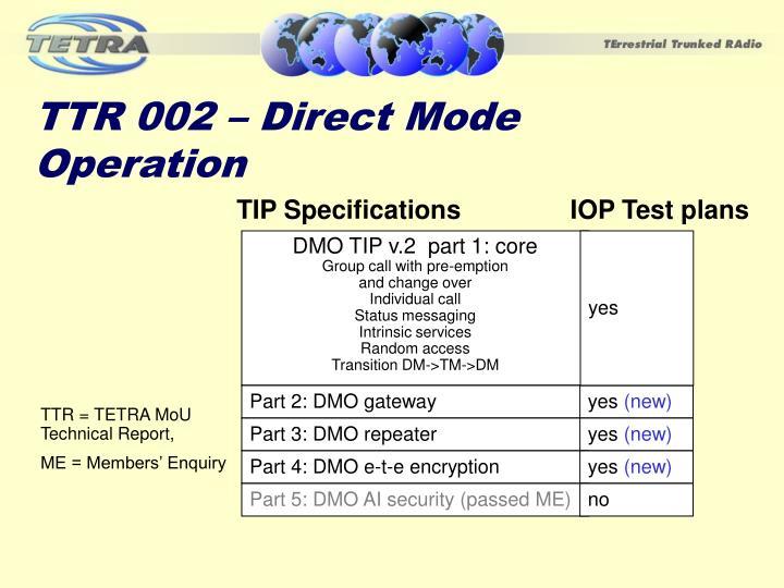 TTR 002 – Direct Mode Operation