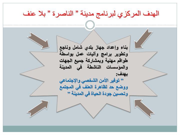"""الهدف المركزي لبرنامج مدينة """" الناصرة """" بلا عنف"""