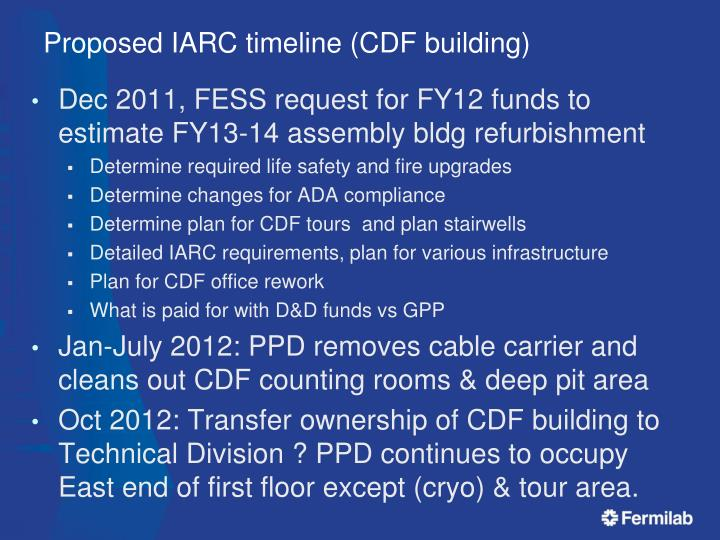 Proposed iarc timeline cdf building