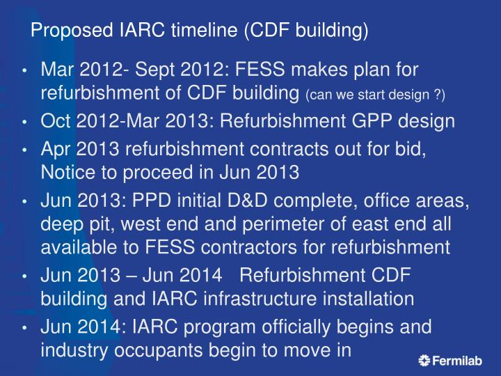 Proposed IARC timeline (CDF building)