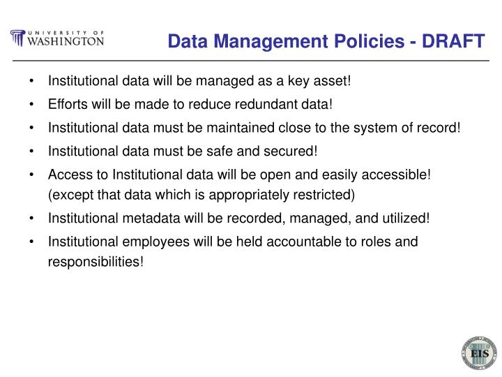 Data Management Policies - DRAFT