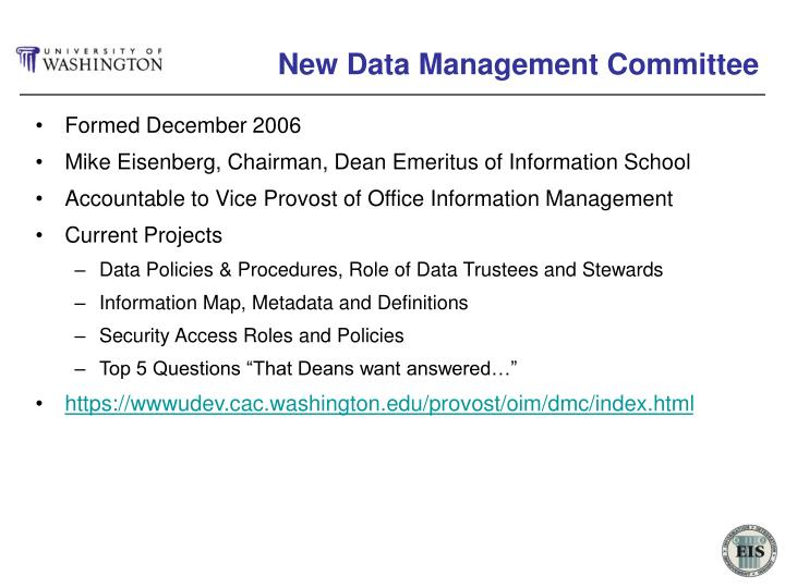 New Data Management Committee