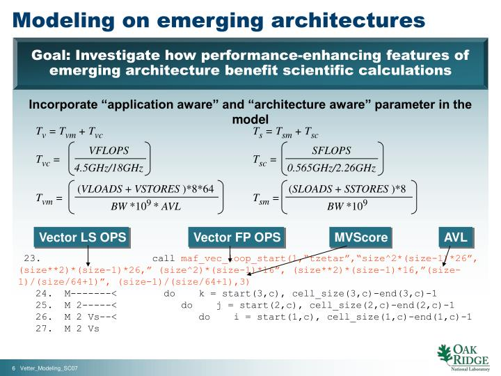 Modeling on emerging architectures