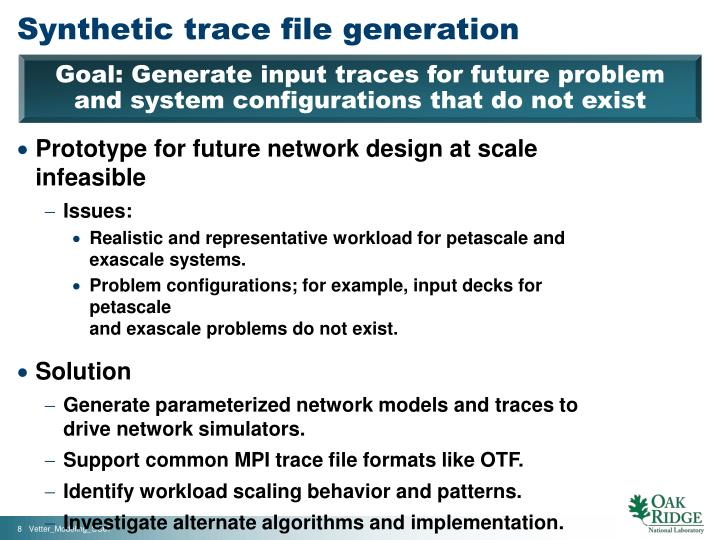 Synthetic trace file generation