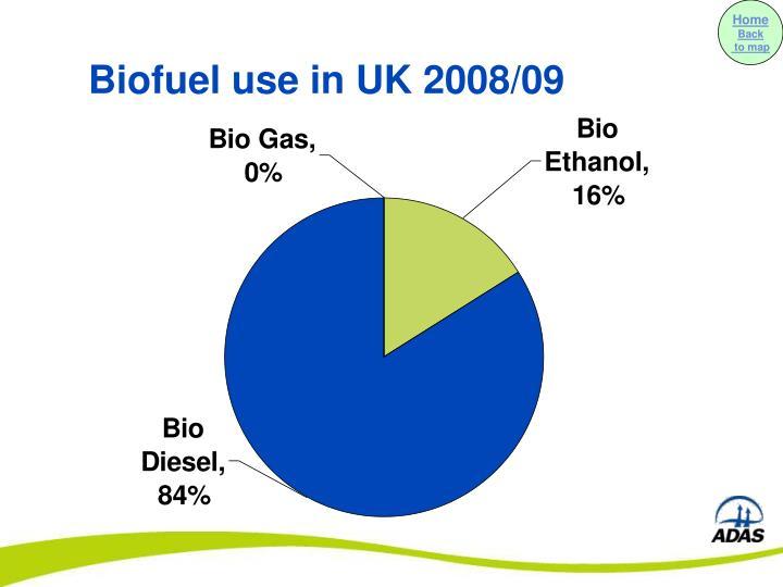 Biofuel use in UK 2008/09