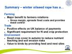 summary winter oilseed rape has a