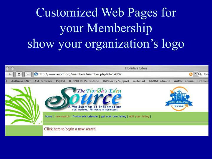 Customized Web Pages for