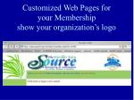 customized web pages for your membership show your organization s logo