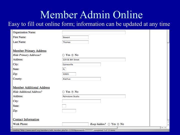 Member Admin Online