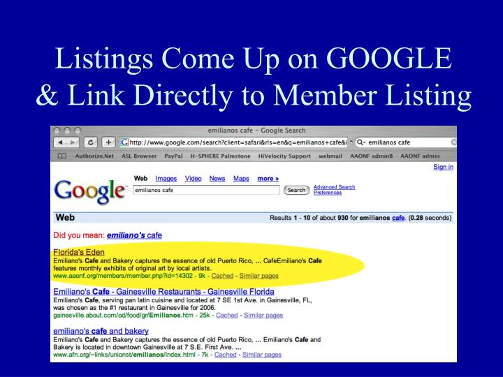 Listings Come Up on GOOGLE