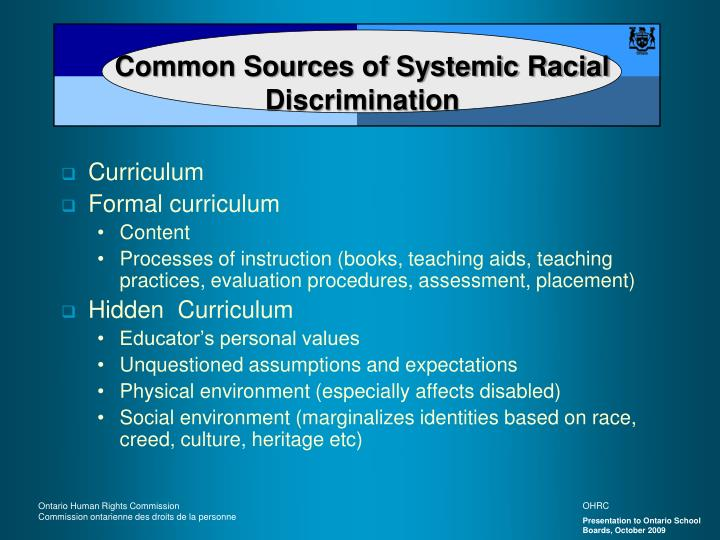 Common Sources of Systemic Racial Discrimination
