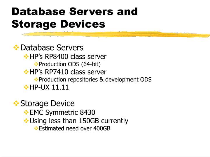 Database Servers and Storage Devices