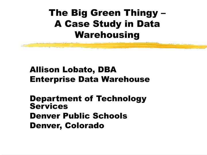 the big green thingy a case study in data warehousing