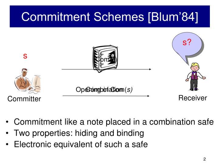 Commitment Schemes [Blum'84]