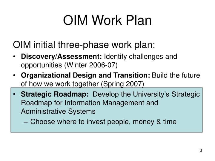 OIM Work Plan