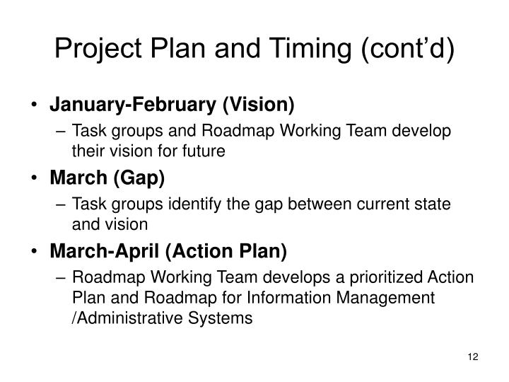 Project Plan and Timing (cont'd)