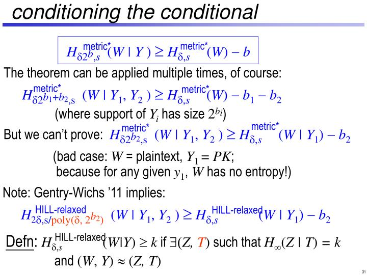 conditioning the conditional