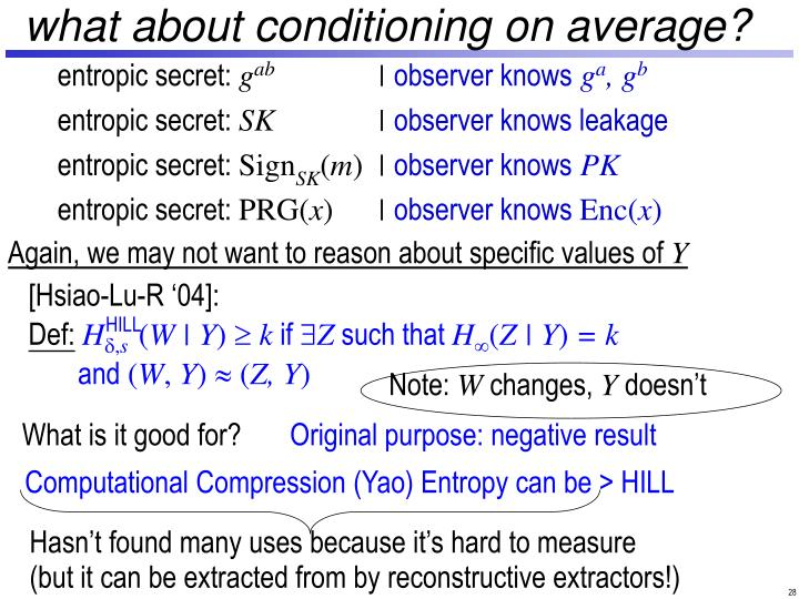 what about conditioning on average?