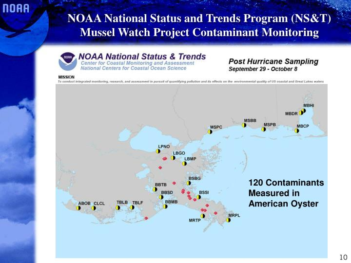 NOAA National Status and Trends Program (NS&T) Mussel Watch Project Contaminant Monitoring