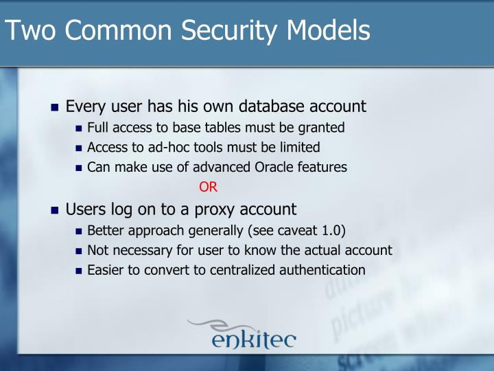 Two Common Security Models