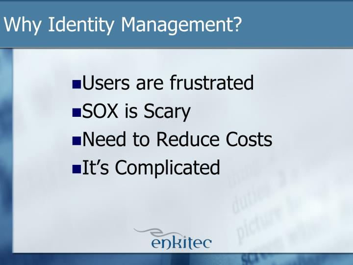 Why Identity Management?