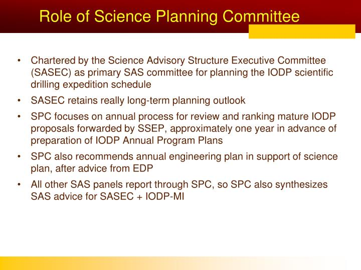Role of science planning committee