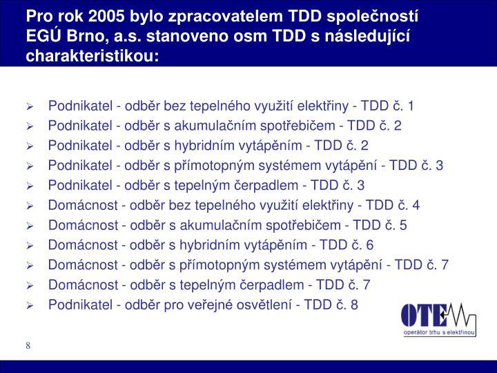 Pro rok 2005 bylo zpracovatelem TDD společností EGÚ Brno, a.s. stanoveno osm TDD s následující charakteristikou: