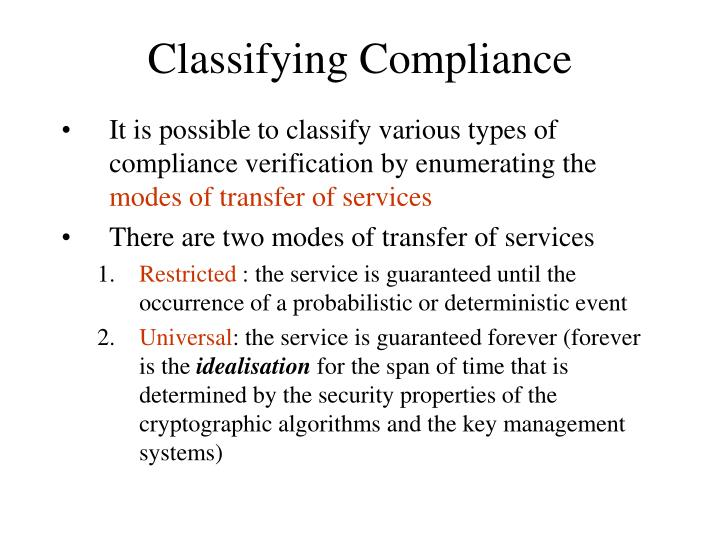 Classifying Compliance