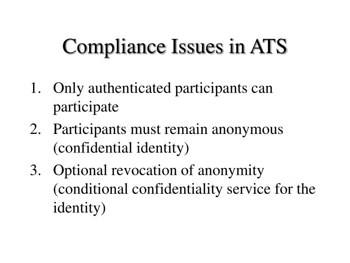 Compliance Issues in ATS