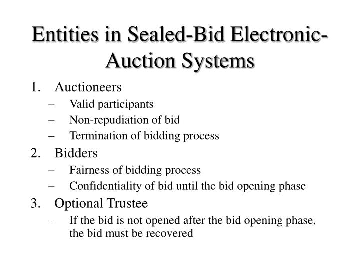 Entities in Sealed-Bid Electronic-Auction Systems