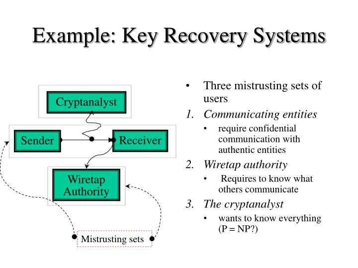 Example: Key Recovery Systems