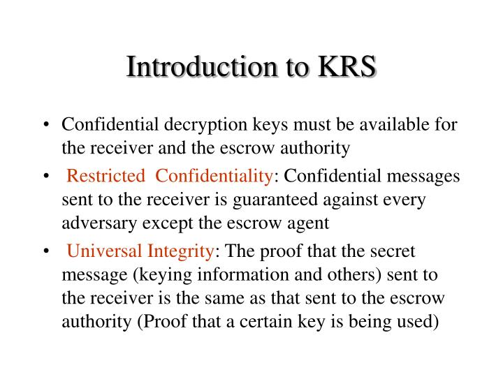Introduction to KRS