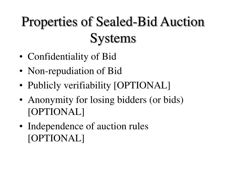 Properties of Sealed-Bid Auction Systems
