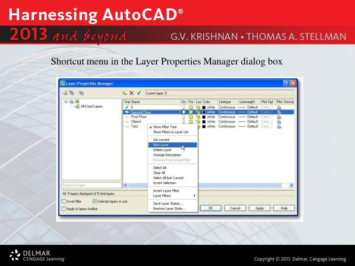 Shortcut menu in the Layer Properties Manager dialog box