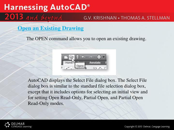 Open an Existing Drawing