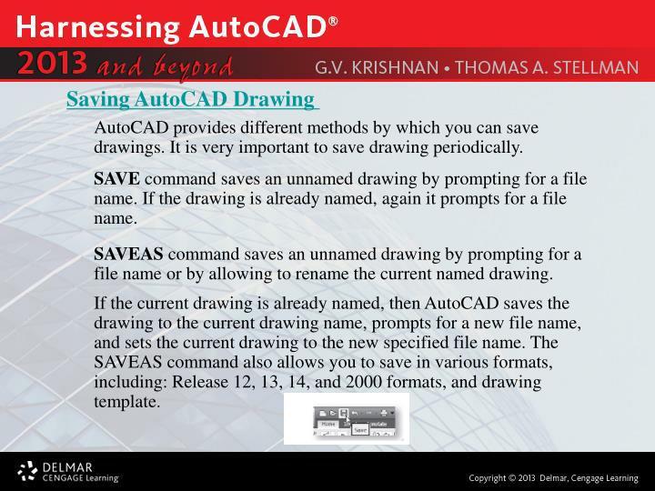 Saving AutoCAD Drawing