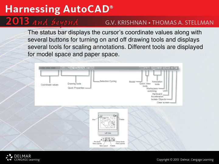The status bar displays the cursor's coordinate values along with several buttons for turning on and off drawing tools and displays several tools for scaling annotations. Different tools are displayed for model space and paper space.