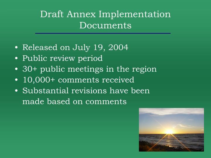 Draft Annex Implementation Documents