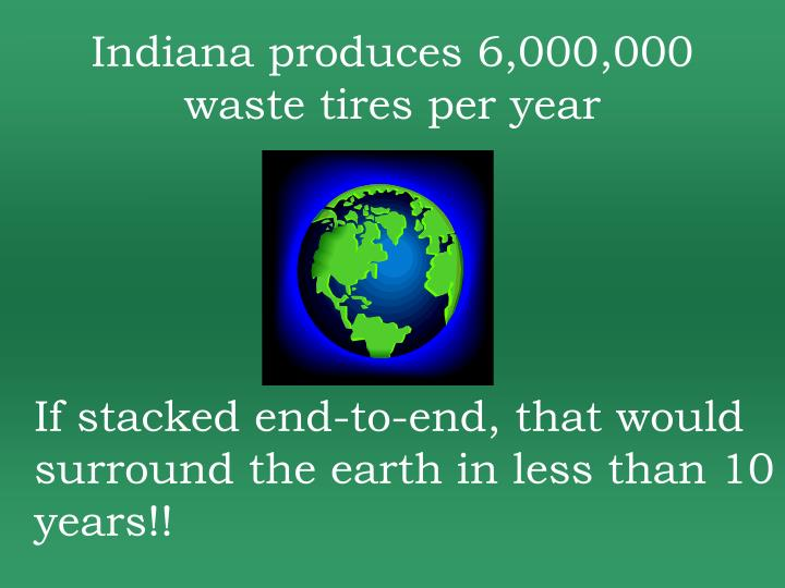 Indiana produces 6,000,000 waste tires per year