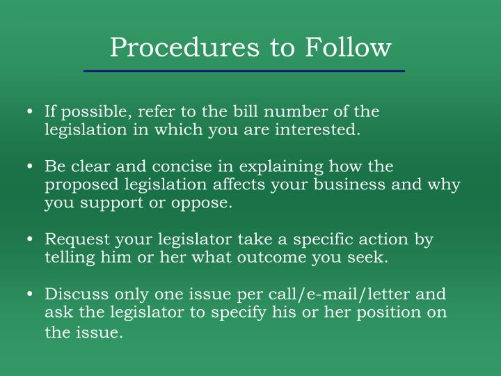 Procedures to Follow