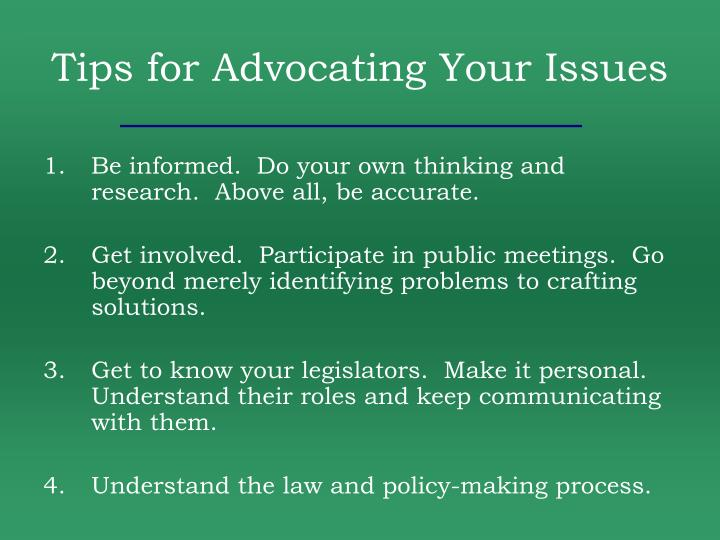 Tips for Advocating Your Issues