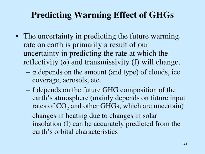 Predicting Warming Effect of GHGs