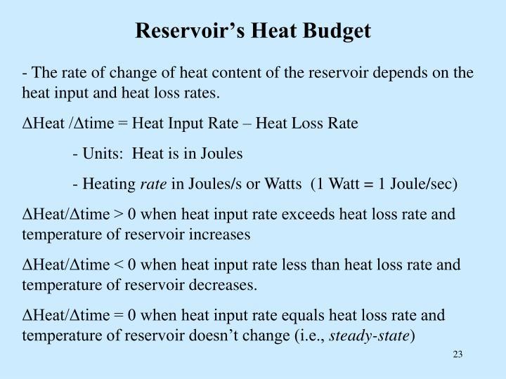 Reservoir's Heat Budget